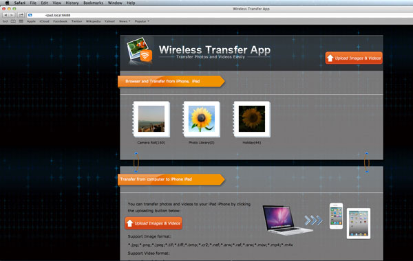 transfer photos and videos from iPad to Mac via wifi